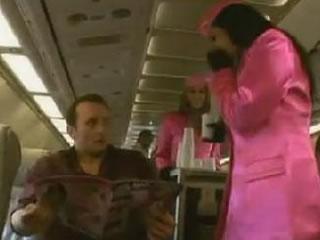 在飞机上的性感的空服员