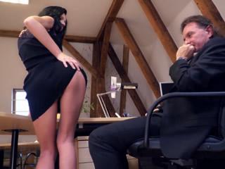 Horny Boss Fucks Brunette German In His Office
