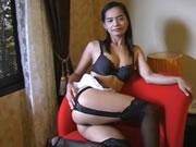 泰國誘惑黑內衣雏妓噴射